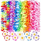 60 Counts Tropical Hawaiian Luau Flower Lei for Fancy Dress Party Beach Fun