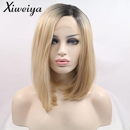 Xiweiya Peluca corta de peluca con parte lateral rubia, resistente al calor, de encaje