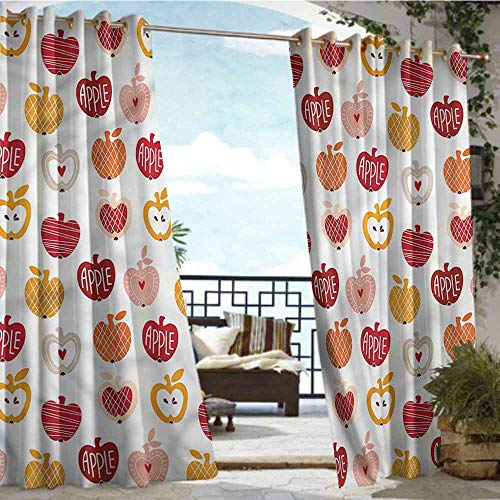 - crabee Balcony Curtains Apple,Love Natural Food Theme,W96 xL108 Outdoor Curtain for Patio,Outdoor Patio Curtains