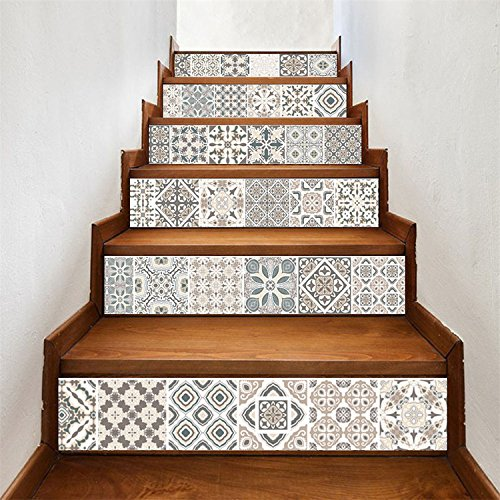 AmazingWall Arabic Style Stair Sticker Faux Tile Decal Furniture Mural Decor Kitchen Bathroom Wallpape 7.1x39.4