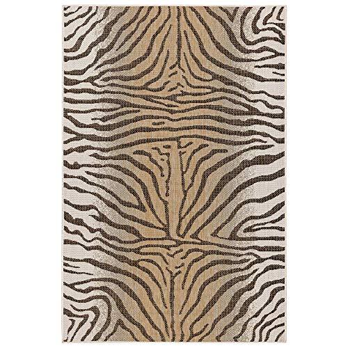 M By Liora CR458A02212 Area Laguna Zebra Stripes Indoor/Outdoor Rug, 4'10