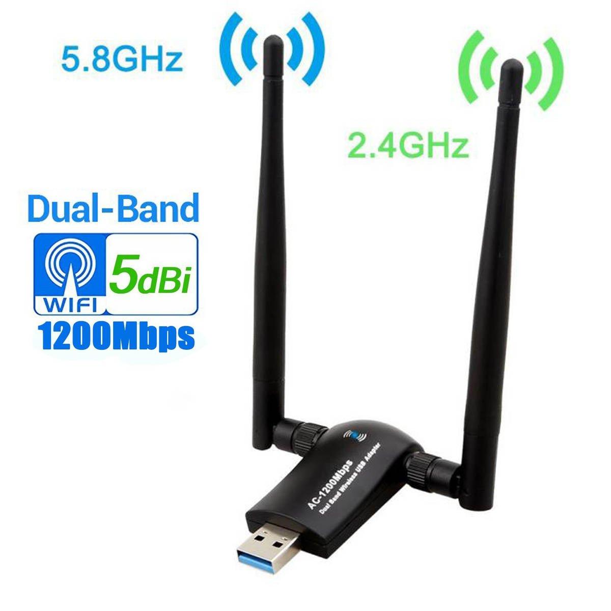 Wireless USB WiFi Adapter 1200Mbps, Dual Band 2.4GHz/300Mbps 5GHz/867Mbps High Gain Dual 5dBi Antennas Network WiFi USB 3.0 for Desktop Laptop, Support Windows 10/8/7/XP, Mac OS X, Ubuntu Linux