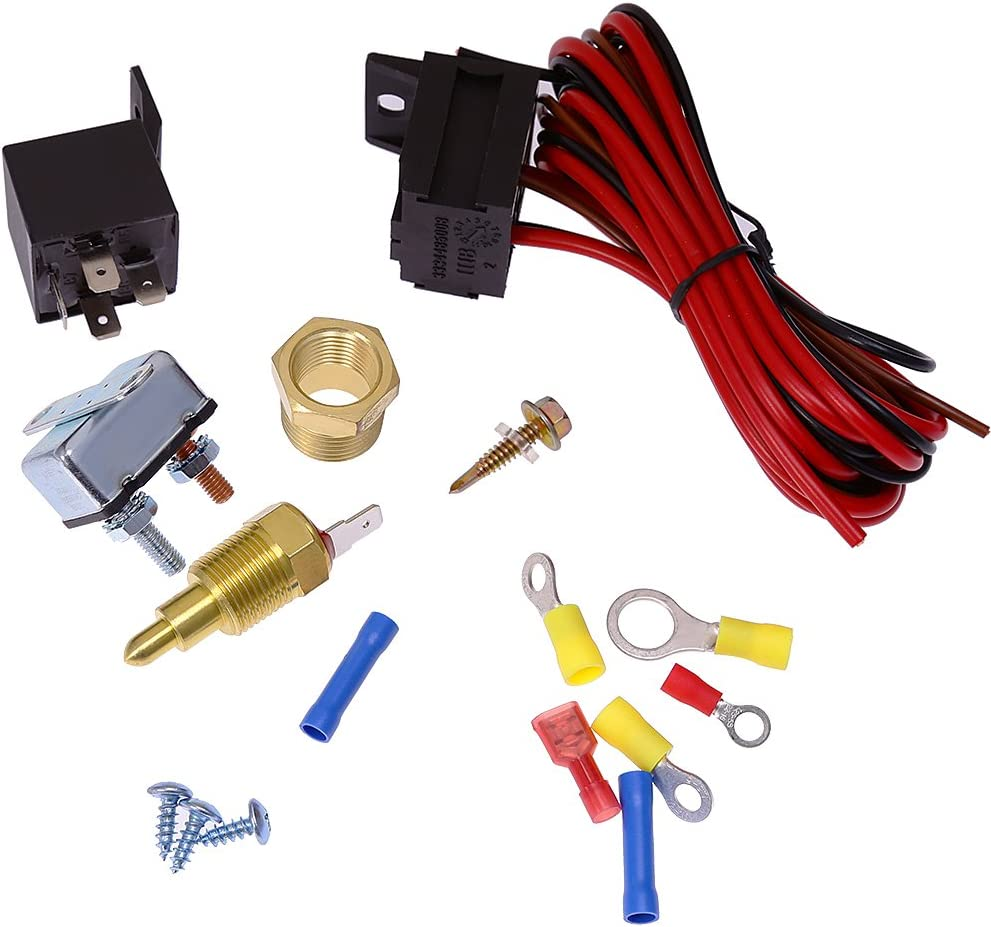 Amazon Com Electric Fan Wiring Install Kit 185 Thermostat 60 Amp Relay Sbc Bbc Automotive