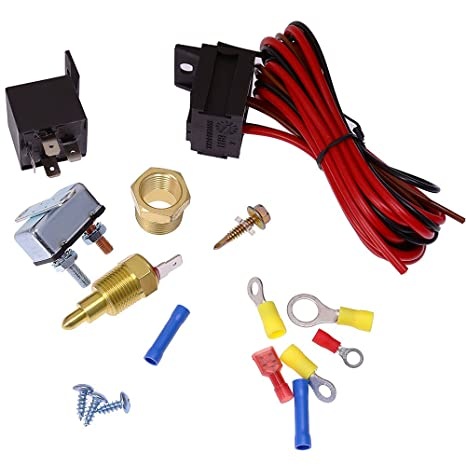 amazon com: electric fan wiring install kit 185? thermostat 60 amp relay sbc  bbc: automotive