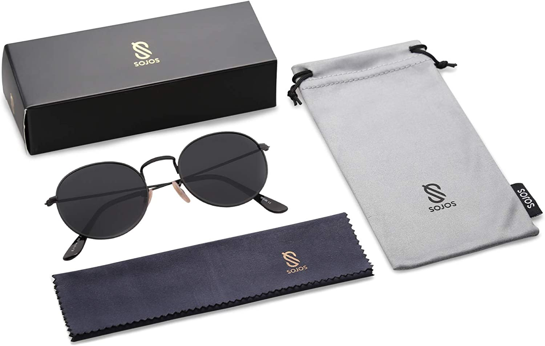 SOJOS Mode Rund Polarisiert Damen Herren Sonnenbrille Mirrored Lenses Unisex Sunglasses SJ1014