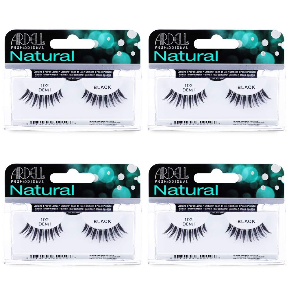 Ardell Natural Lashes False Eyelashes 102 Black Demi (4 pack)