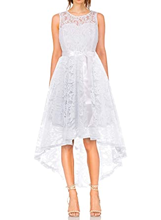 MONYRAY Vestito Donna Elegante Cerimonia in Pizzo Floreale Abito da Sera  Corto Davanti Lungo Dietro  Amazon.it  Abbigliamento fb1fd496c86