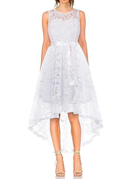 cf40d39ed6ed MONYRAY Vestito Donna Elegante Cerimonia in Pizzo Floreale Abito da Sera  Corto Davanti Lungo Dietro  Amazon.it  Abbigliamento