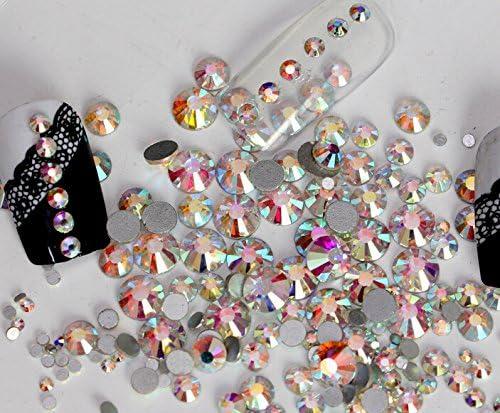 Jollin Hot Fix Cristal de Espalda Plano Vidrio pedrer/ía Gemas de diamantes redondos Strass para decoraci/ón de u/ñas SS16 576pcs Topaz AB