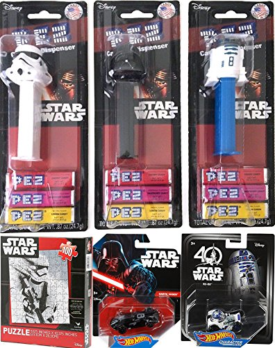 Star Wars Pez Candy Strawberry / Raspberry & Lemon Triple Pack Dispensers Darth Vader / Stormtrooper & R2-D2 Droid + Hot Wheels Character cars & Jigsaw Puzzle Fun Attack Orange Grape Pack