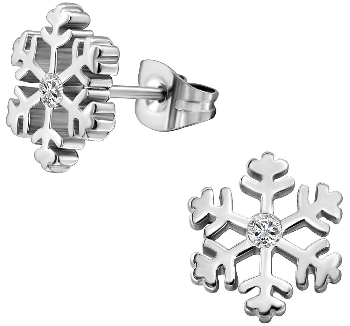 Surgical Steel Cubic Zirconia Snowflake Earrings by Forbidden Body Jewelry