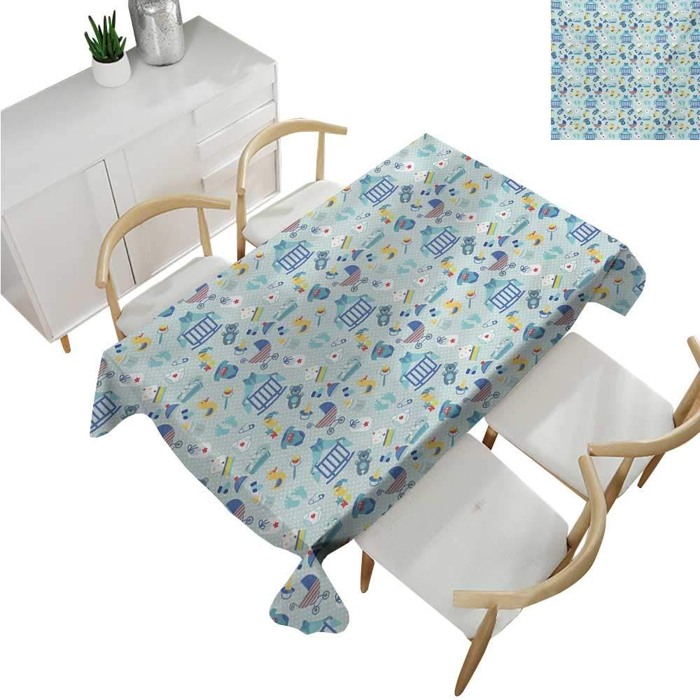 familytaste Baby,Tablecloth Rectangular,Newborn Sleep Crescent Moon Pacifier Nursery Star Polka Dots Image,Table in Washable Polyester 60''x 90''