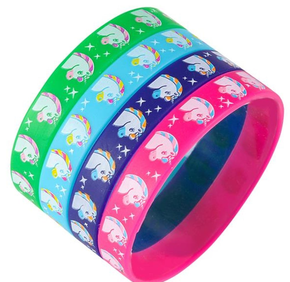 Rhode Island Novelty Colorful 7.75'' Unicorn Silicone Bracelet (36 Pack) Birthday Party Supplies