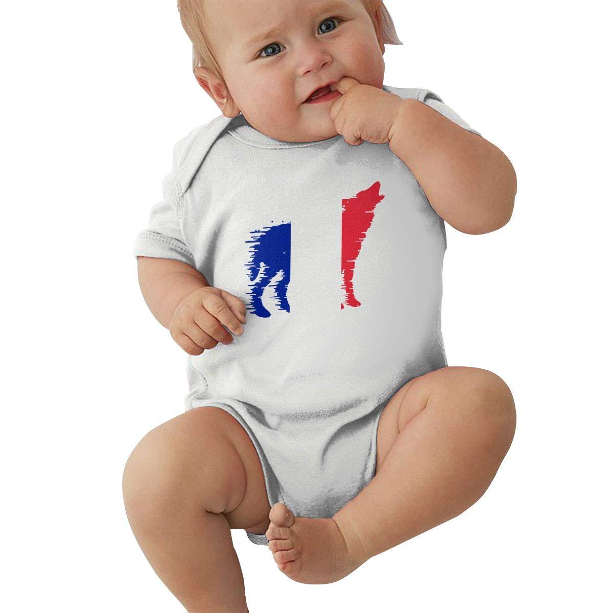 Baby Boy Girl Short Sleeve Organic Bodysuits France Flag Wolf Infant Romper Jumpsuit