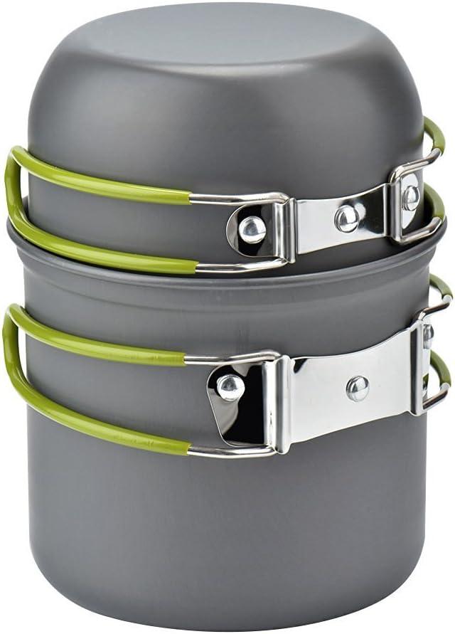 Cozyswan Utensilios de Cocina Portátil Olla y Sarténes - Batería de Cocina para Camping - al Aire Libre, 2 Piezas