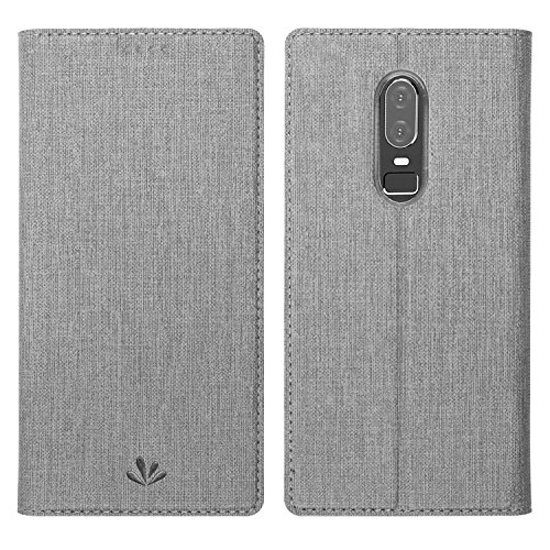 Simicoo OnePlus 6 Flip PU Leather Slim Fit case Card Holster Stand Magnetic Cover Clear Silicone TPU Full body Shockproof Pocket Thin Wallet Case for OnePlus 6 One plus 6 1+6 (Grey, OnePlus 6)