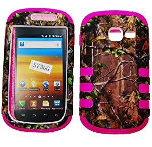 IMAGITOUCH(TM) Samsung Galaxy Discover S730g Galaxy Centura S738c (StraightTalk Net 10 Tracfone) Rubberized 2D Design Real Tree Camo Camouflage Green Leaves Hard PC / Silicone Hot Pink Tough Hybrid Dual Layer Anti Shock Hard Case Shell Cover Phone Protector Faceplate