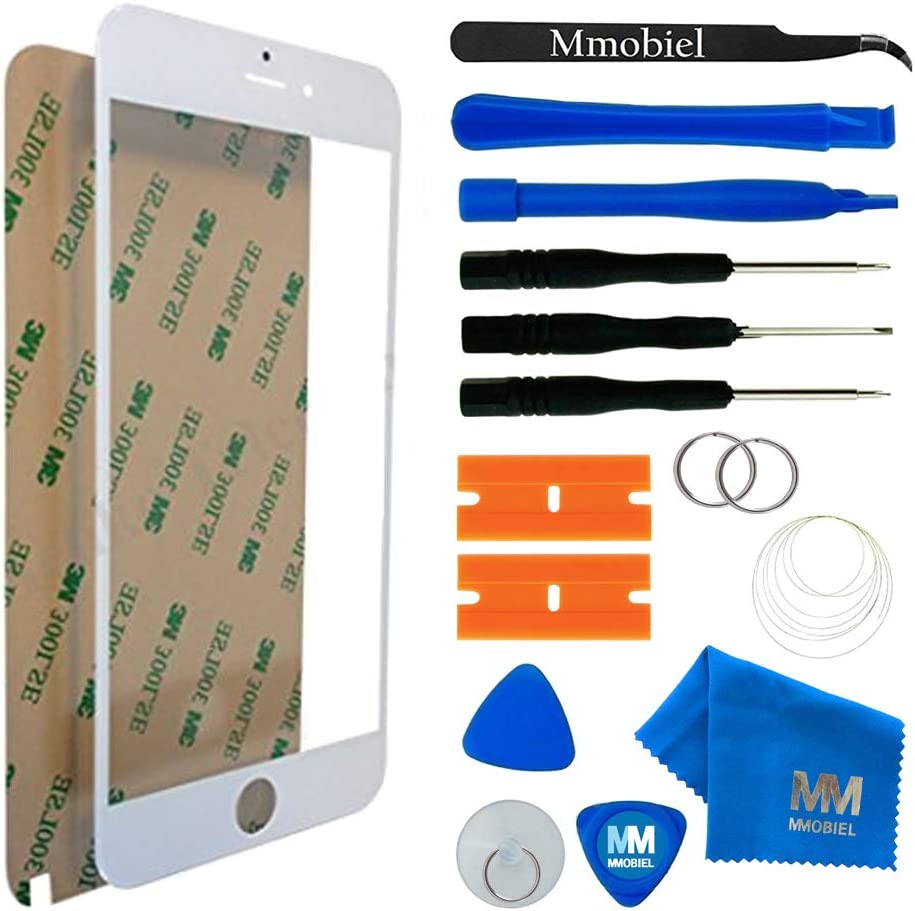 MMOBIEL Front Glass Replacement Compatible with iPhone 6 Plus / 6S Plus Series (White) Display Touchscreen incl Tool Kit
