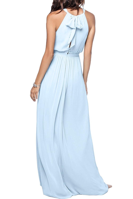 Missdressy Romantisch A-Linie Lang Neckholder Schlitz Chiffon Abendkleider  Partykleider Brautmutterkleider: Amazon.de: Bekleidung