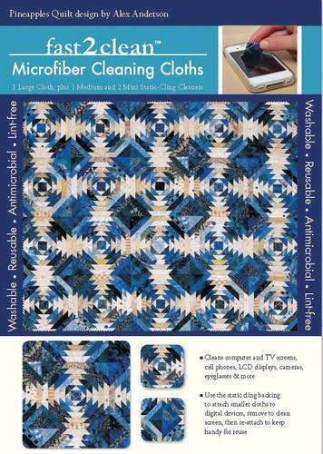 Read Online fast2clean™ Pineapples Quilt Microfiber Cleaning Cloths: 1 Large Cloth, plus 1 Medium and 2 Mini Static-Cling Cleaners pdf epub