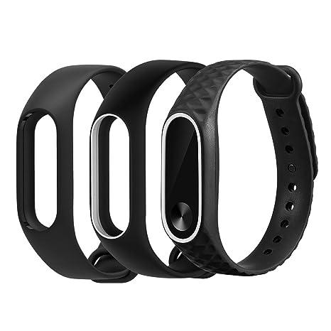 YEFOD Correa de Repuesto para Pulsera Inteligente Xiaomi Mi Band 2 (Silicona, Resistente al Agua),Negro