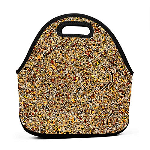 Removable Shoulder Strap Psychedelic,Abstract Hallucinatory Plasma Shapes with Ethnic Eastern Marbleized Print,Orange Brown,small lunch bag for kids
