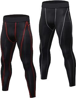 Niksa 2 Pezzi Uomo Pantaloni Tasca con Zip Fitness Abbigliamento Sportivo Compressione Leggings,Compression Pants Baselayer for Gym Jogging Running