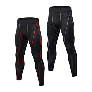 19f7247454 Niksa 2 Pack Mens Compression Running Leggings Gym Workout Tights Base  Layer Pants: Amazon.co.uk: Clothing