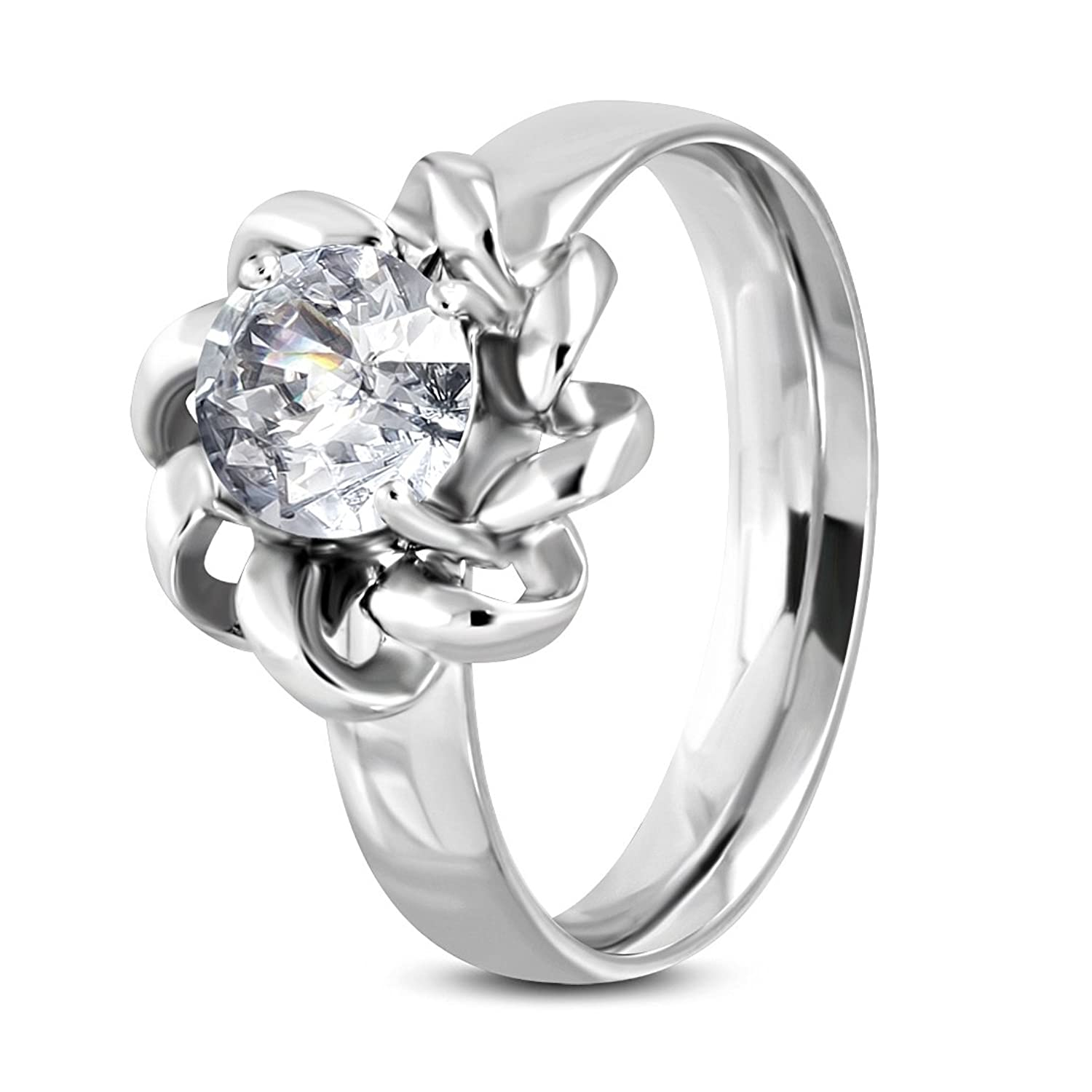 Stainless Steel Prong-Set Flower Comfort Fit Fancy Ring with Clear CZ