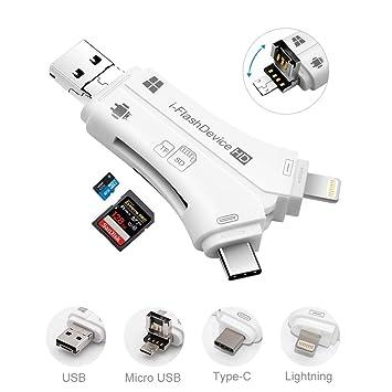 Lector de tarjetas Micro SD, WIFUN 4 en 1 Lector de tarjetas Micro SD / TF Adaptador de tarjetas de memoria externo Unidad USB i Flash para iPhone ...