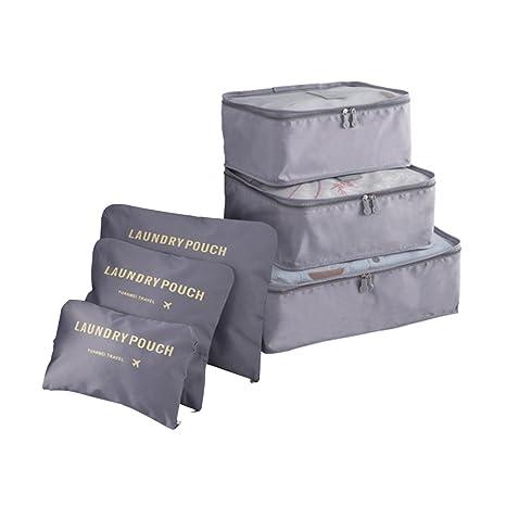 COOJA Set de 6 Travel Organizers 3 Packing Cubes + 3 Bolsas, Impermeable Organizador de Viaje para Maletas Bolsa Equipaje para Ropa Sucia Zapatos ...