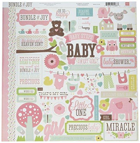 "Echo Park Paper Company Bundle Of Joy Girl Cardstock Stickers 12""X12"", Element"
