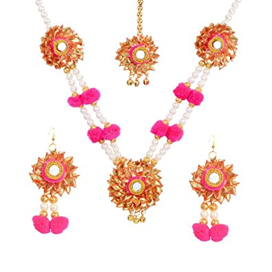 ca353b4af Buy Floret Pink Colour and White Pearl Gotta Patti Flower Jewellery Set  with Necklace