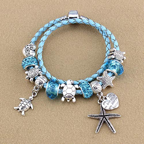 Starfish Turtle Pendant Bracelet | Blue Crystal Beaded Bracelet | DIY Glass Beads Bracelet