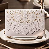 PONATIA 25 PCS Luxury Laser Cut Invitations Cards Kits Flora Invitation Cardstock Packs with Envelope and Adhesive Seals For Wedding Party(White Card)