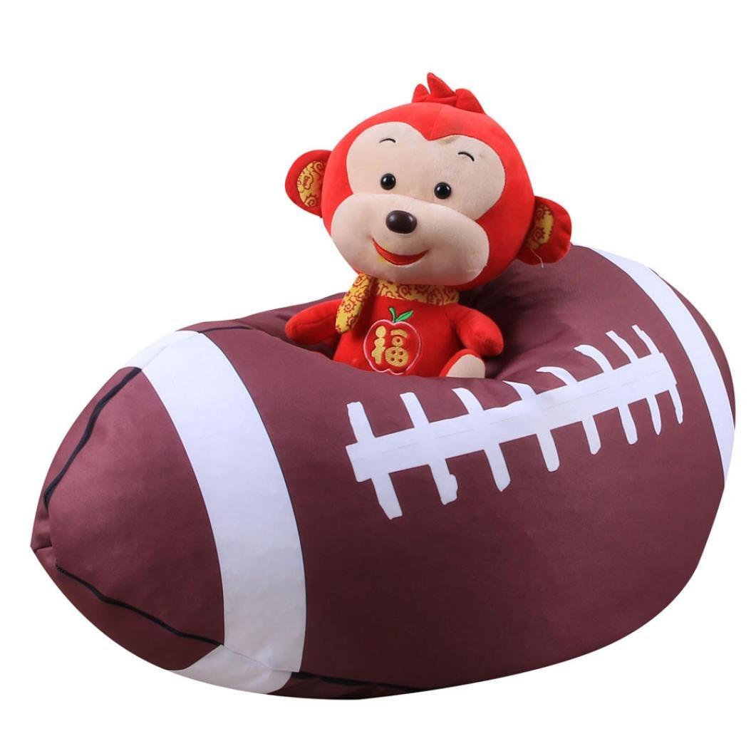 Cinhent Bag 1PC Kid Stuffed Animal Plush Basketball Style Toy Storage Bean Bag, Soft Pouch Fabric Chair, Towel,Dress Up,Blankets,Quilt,Flexible Wardrobe Closet (L)
