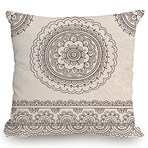 KissCase Throw Pillow Cushion Cover,Henna,Floral Tattoo Design Inspirations from Asian Civilizations Doodle Style Soft Colored Decorative,Brown Cream,Decorative Square Accent Pillow Case - Henna Floral Tattoos