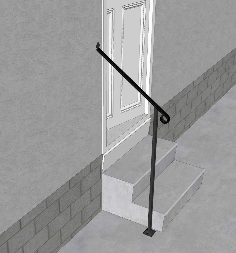 Iron X Handrail Door #2-20'' Wall & Floor Mounted Handrail by Fortin Ironworks