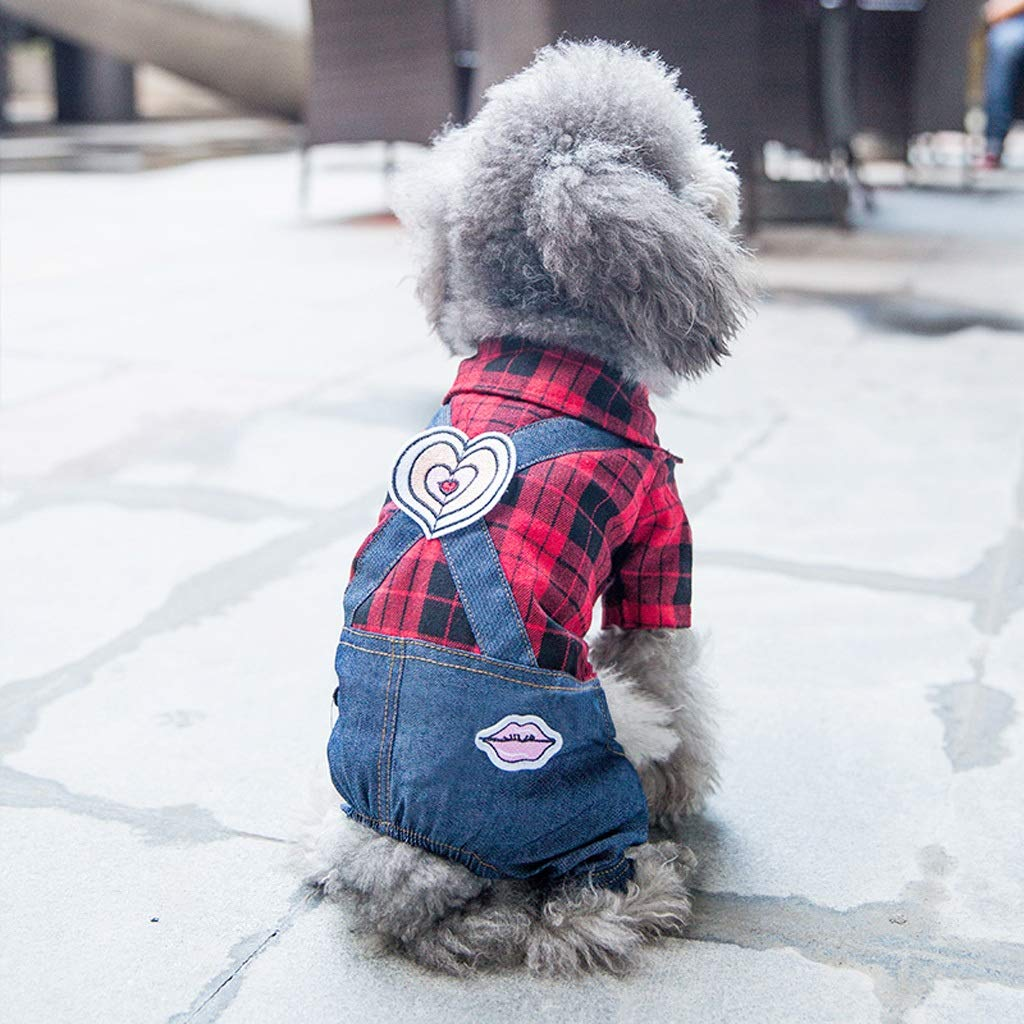L CXQ Pet Small Dog Winter and Autumn Cute Warm Red Denim Plaid Four-Legged Clothes (Size   L)