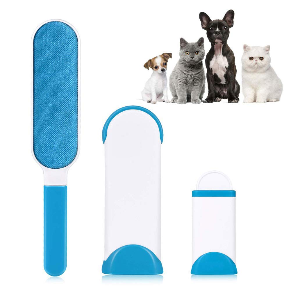 MIAOWU Pet Hair Remover Brush, Pet Hair Remover with Self-Cleaning Base, Double-Sided Pet Hair Remover Brush, Best Pet Hair Remover Brush for Removing Pet Hair, 2PCS,Blue
