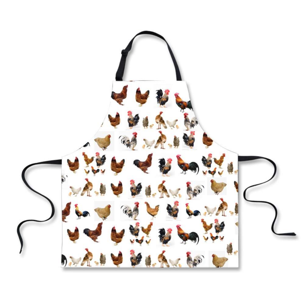 HUGS IDEA かわいい動物柄エプロン 大人 女性 男性 キッチン シェフエプロン ホワイト  チキン(Chicken) B07K153K38