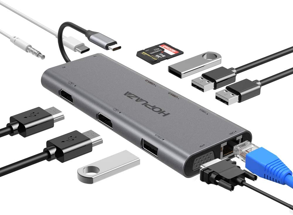 USB C Hub, 12-in-1 USB C Docking Station with 2HDMI|VGA|RJ45 Ethernet|SD/TF Card Reader|3.5mm Audio|PD|2 USB3.0|2 USB2.0 Ports, USB C Adapter for MacBook/HP/Dell/Surface/Lenovo Laptop