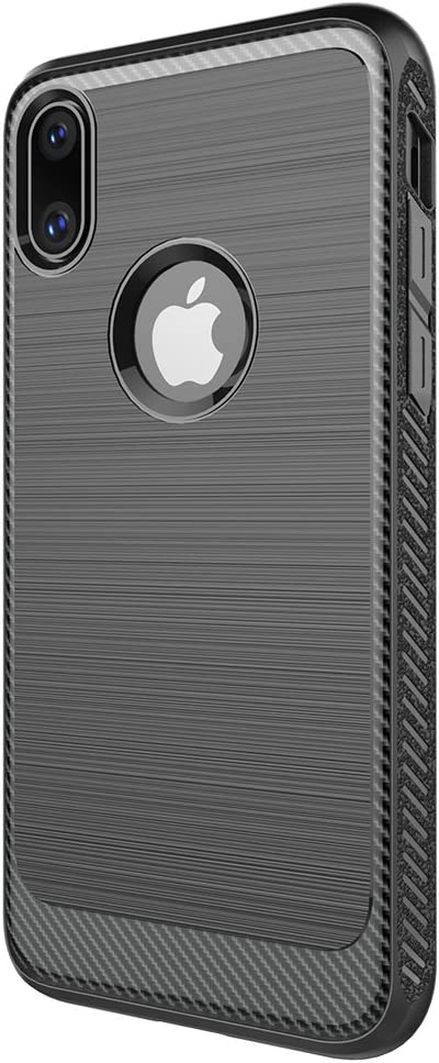 iPhone X Case Superwe Slim Fit TPU Rugged Armor with Resilient Shock Absorption and Carbon Fiber Design for Apple iPhone X (2017) - Cool Black