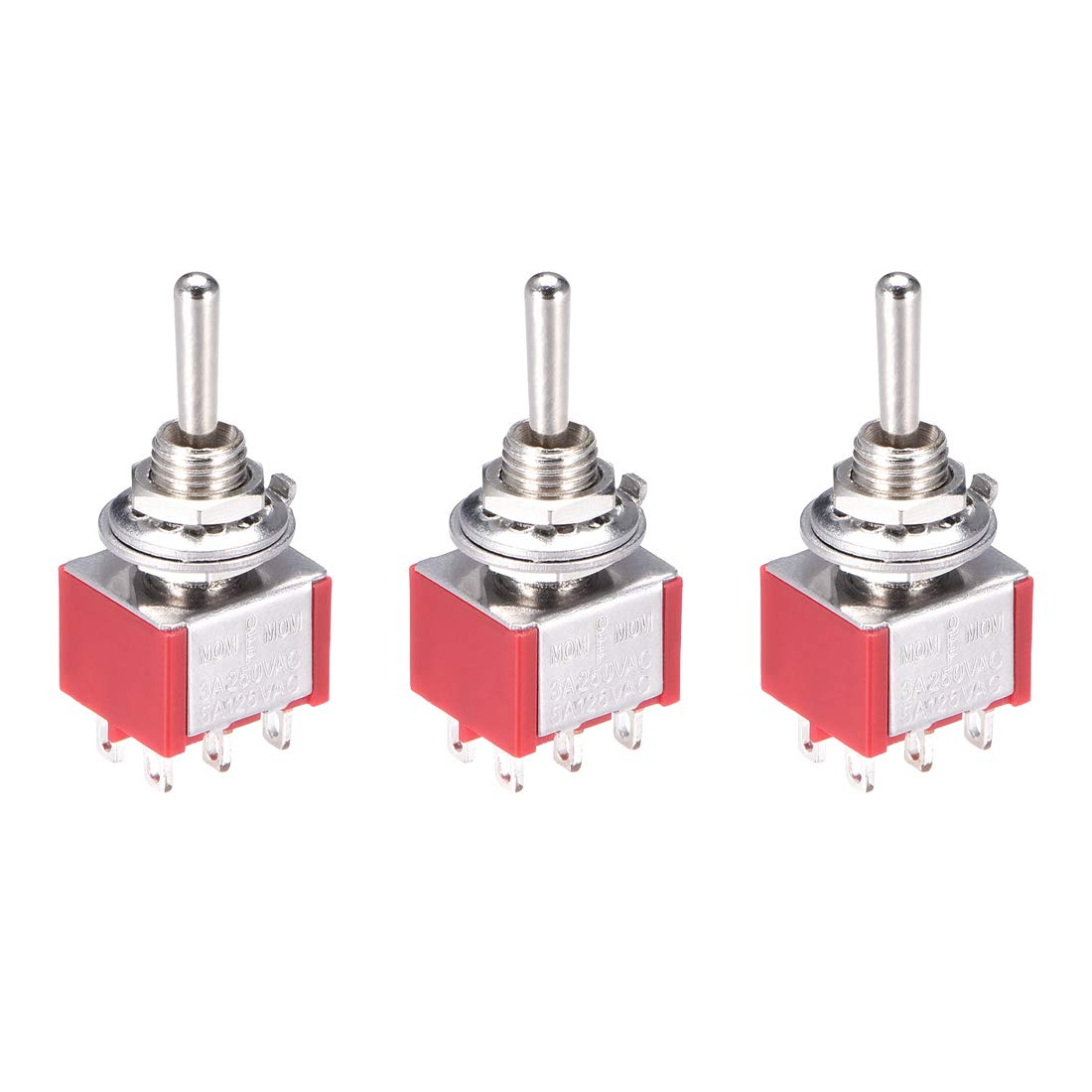 uxcell Momentary Rocker Toggle Switch 3 Positions Heavy-Duty 3A 250V 5A 125V 6Pin DPDT ON//Off//ON 3 Pcs