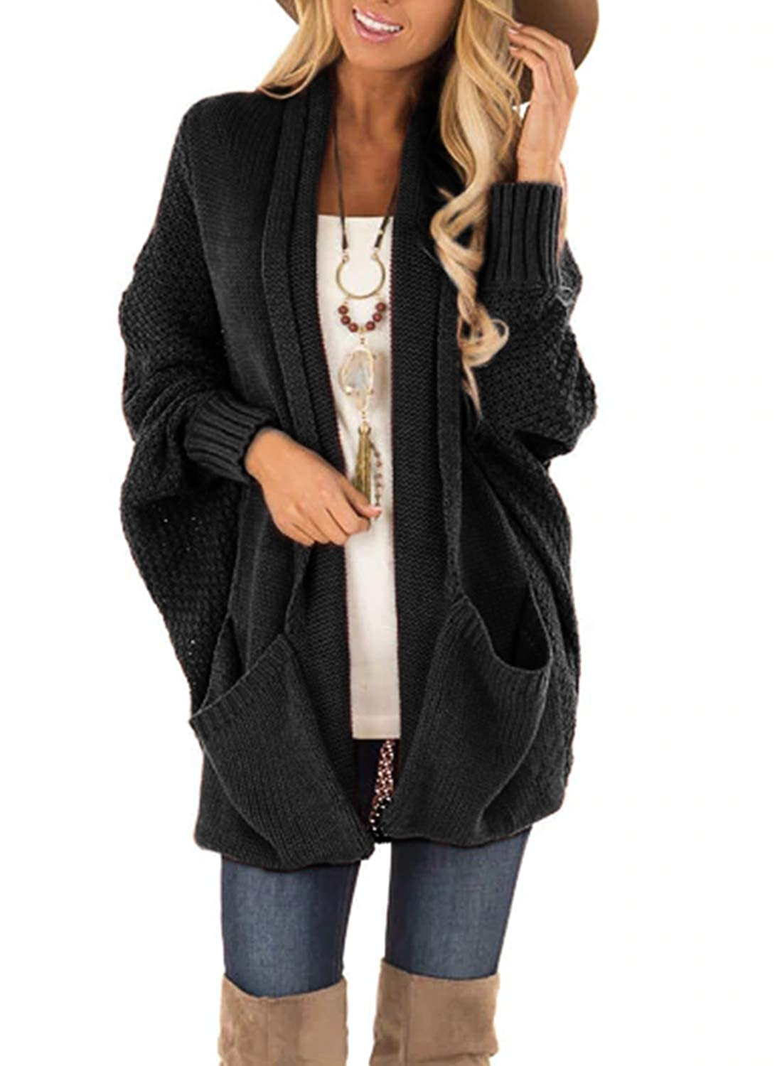 BLENCOT Women Long Cardigan Chunky Knitted Coat Batwing Sleeve Sweater with Square Pockets
