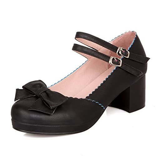Damen Pumps 1TO9 Damen Chunky Heels Buckle Square Toe