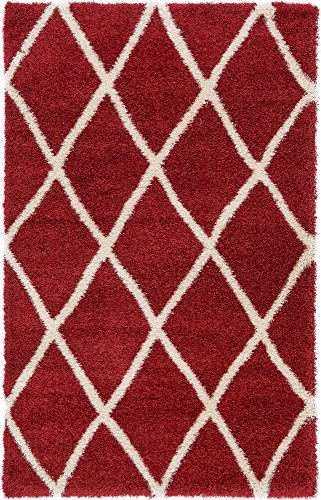 Unique Loom Opulence Trellis Shag Collection Plush Geometric Modern Moroccan Burgundy Area Rug (5' 0 x 8' 0)