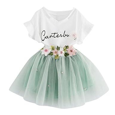 7c48a6dbe0cc5 HOMEBABY Toddler Baby Girls Short Sleeve T-Shirt Tops+Floral Skirt ...