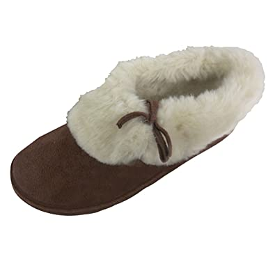 Womens Faux Suede Brown Furry Bootee Slipper Ladies Warm Slippers Sizes Uk JK_8153