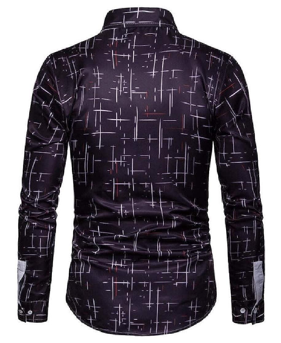 Domple Men Fashion Long Sleeve Print Business Button Up Dress Shirts